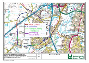 Temporary Traffic Regulation Order: Forest Road and Narborough Road, Huncote and Huncote Road, Narborough